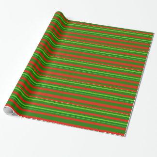 Papier Cadeau Motif rouge/vert de Noël de rayures