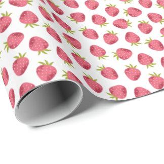 Papier Cadeau Motif sans couture de fraise rose douce