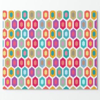 Papier Cadeau Motif tribal moderne d'Ikat d'arc-en-ciel coloré