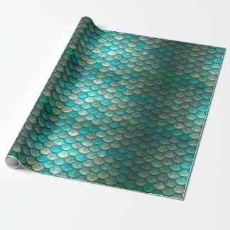 Papier Cadeau Motif vert de menthe d'échelles de poissons de