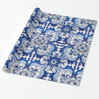 Papier Cadeau Motif vintage de tuile d'Azulejo de Portugais