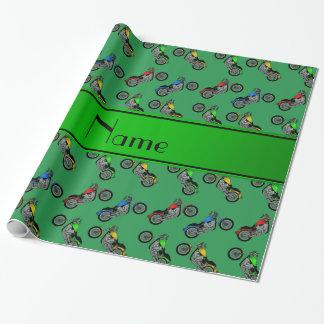 Papier Cadeau Motos vertes nommées personnalisées