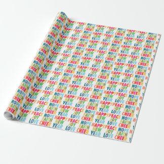 Papier Cadeau Mots colorés - papier d'emballage