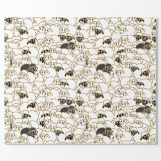 Papier Cadeau moutons, troupeau énorme noir et blanc