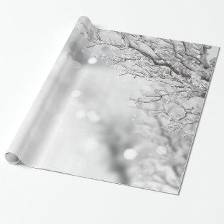 Papier Cadeau Neige décorative de Noël avec le scintillement