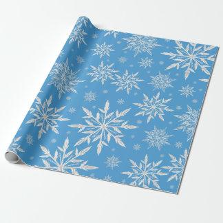 Papier Cadeau Noël bleu de flocon de neige d'hiver