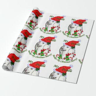 Papier Cadeau Noël d'amants de caniche