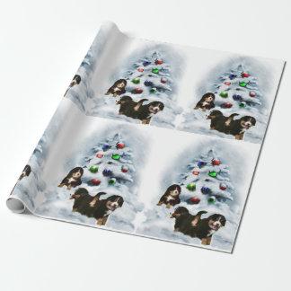 Papier Cadeau Noël de chiots de chien de montagne de Bernese