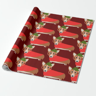 Papier Cadeau Noël de corgi