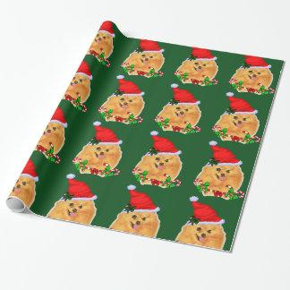 Papier Cadeau Noël de Pomeranian Père Noël