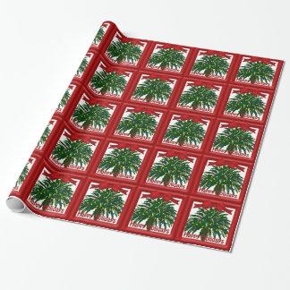 Papier Cadeau Noël du sud de palmier enveloppant Papper