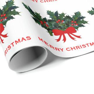 Papier Cadeau Noël élégant de vacances d'arc vert rouge de houx