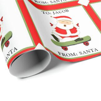 Papier Cadeau Noël faisant de la planche à roulettes