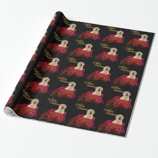 Papier Cadeau Noël jaune de chien de Labrador