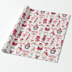 Papier Cadeau Noël moderne Santa, pingouins et ours blancs