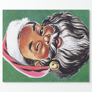 Papier Cadeau Noël noir du père noël d'Afro-américain
