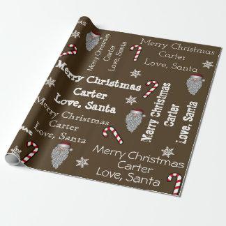 Papier Cadeau Noël nommé personnalisé de Père Noël