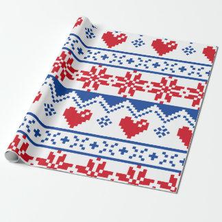 Papier Cadeau Noël nordique en rouge et bleu