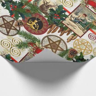 Papier Cadeau Noël païen et papier d'emballage victorien vintage