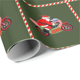 Papier Cadeau Noël personnalisé de motocycliste