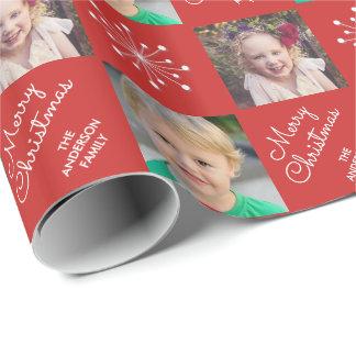 Papier Cadeau Noël rouge de flocon de neige de cadre de deux