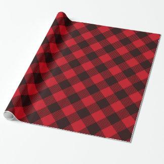 Papier Cadeau Noël rouge et noir de Buffalo de plaid de motif