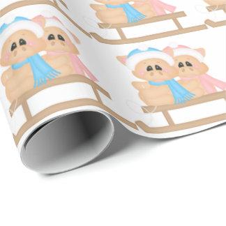 Papier Cadeau Noël Sleigh montant le papier d'emballage carrelé