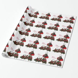 Papier Cadeau Noël : Souris sur le champignon, houx : Art