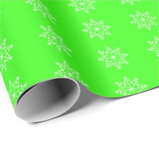 Papier Cadeau Noël vert au néon de motif de vacances de flocon