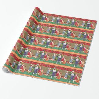 Papier Cadeau Noël vintage, danse d'enfants d'Edwardian