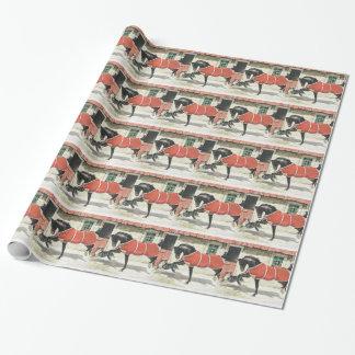 Papier Cadeau Noël vintage de cheval et de chien
