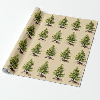 Papier Cadeau Noël vintage de pin (Med. Image)