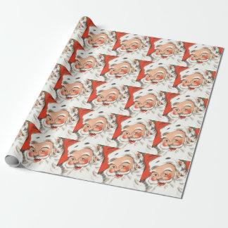 Papier Cadeau Noël vintage, le père noël gai avec le sourire