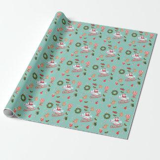 Papier Cadeau Noël vintage, Père Noël, guirlande, animaux