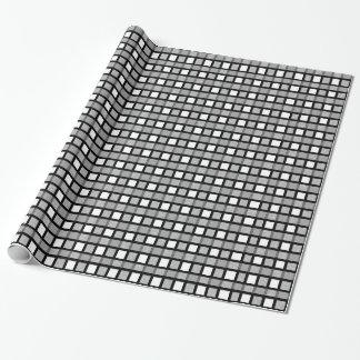 Papier Cadeau Noir, blanc et armure statique argentée