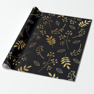 Papier Cadeau Noir floral botanique de feuille d'or de Faux de