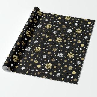 Papier Cadeau Noir frais chic de flocons de neige de Noël blanc