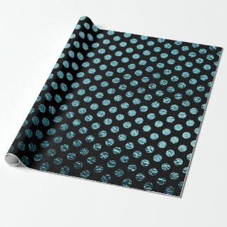 Papier Cadeau Noir métallique turquoise de pois verre urbain