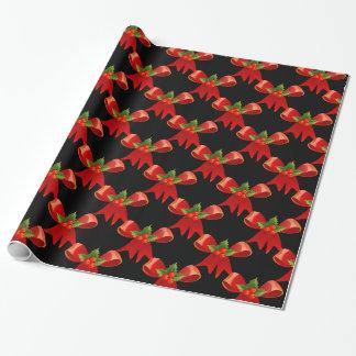 Papier Cadeau Noir rouge de Thunder_Cove de houx d'arc de ruban