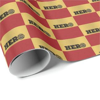 Papier Cadeau Nom fait sur commande, héros de sapeur-pompier