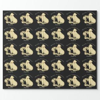Papier Cadeau Nom personnalisé par Noël noir et blanc de chat
