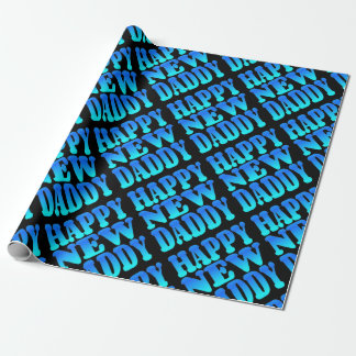 Papier Cadeau Nouveau papa heureux dans le bleu