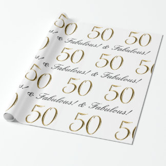Papier Cadeau Or 50 et cinquantième cadeau d'anniversaire
