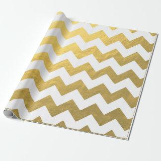 Papier Cadeau Or de Chevron et papier d'emballage blanc