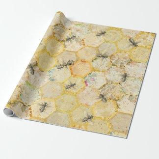 Papier Cadeau Or floral de nid d'abeilles de reine des abeilles