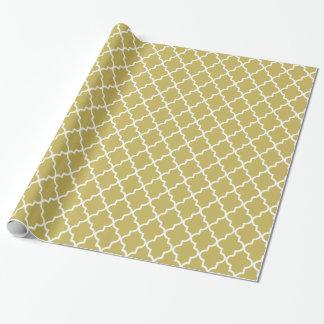Papier Cadeau Or foncé et Marocain blanc Quatrefoil