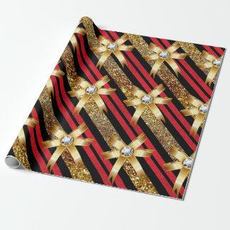Papier Cadeau Or rouge et arcs noirs de diamant d'or de