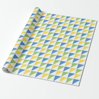 Papier Cadeau Or vert et papier d'emballage de triangles bleues