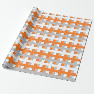 Papier Cadeau Orange abstraite, argent et blanc
