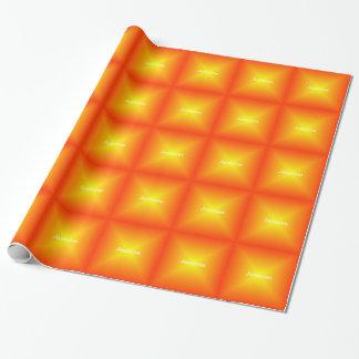 Papier Cadeau Orange décorée d'un monogramme